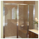 Chrome Inline Door and Panel with Step-Up and Clear Glass