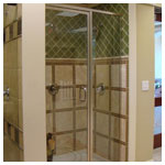 Brushed Nickel Inline Door and Panel with handle thru glass and 80 inch height