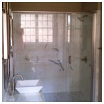 Brushed Nickel Semiframeless Inline Shower with Clear Glass