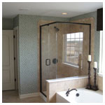 Oil Rubbed Bronze Corner Shower with Clear Glass