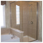 Brushed Nickel Semiframeless Corner Shower with Clear Glass