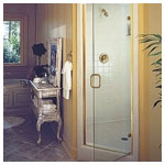Gold Semiframeless Swing Shower with Clear Glass