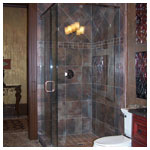 Antique Brushed Copper Frameless Corner Shower with Clear Glass