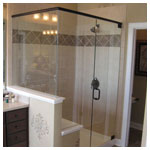 Oil Rubbed Bronze Frameless Corner Shower with Seat and Clear Glass