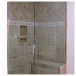 Brushed Nickel Frameless Inline Shower with Seat and Clear Glass