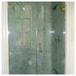 Gold Frameless Inline Shower with Clear Glass