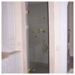 Gold Frameless Swing  Shower with Custom Handle and Clear Glass