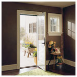 200 Series Hinged Patio Door, Inswing, White Finished Interior, Anvers Hardware Satin Nickel Finish
