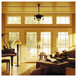 400 Series FFrenchwood Hinged Patio Doors - Prarie Style Grilles and Picture Windows