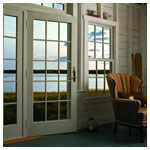 A-Series Frenchwood Hinged Patio Door, White Interior, Colonial Grille Pattern, Newbury Hardware Bright Brass, Transom