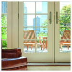 A-Series Frenchwood Hinged Inswing Patio Doors, Black Exterior, Pre-Finished White Interior, Satin Nickel Covington Hardware, Colonial Grille Pattern