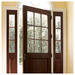 Rectangular, Straightline  Rectangle Glass Panel Style 194, 192 Sidelights, Mahogany Wood, Colonial Grilles
