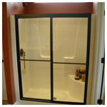 Oil Rubbed Bronze Framed Shower Bypass with Clear Glass
