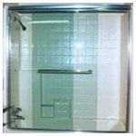 Chrome Semiframeless Tub Bypass with Clear Glass