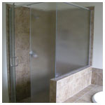 Brushed Nickel Semiframeless Corner Shower with Obscure Glass