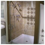 Brushed Nickel Frameless Inline Shower with Clear Glass