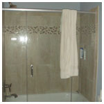 Brushed Nickel Frameless Inline Tub with Clear Glass