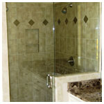 Brushed Nickel Frameless Inline Shower with Step-Up and Clear Glass