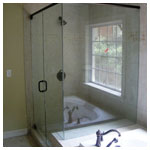 Oil Rubbed Bronze Frameless Corner Shower with Clear Glass
