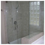 Brushed Nickel Frameless Corner Shower with Clear Glass